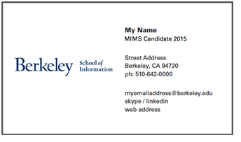 UC Storefront Berkeley School Of Information - Student business cards templates