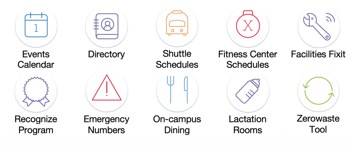Events calendar, directory, shuttle schedules, fitness center schedules, facilities fixit, recognize program, emergency numbers, on-campus dining, lactation rooms, and zerowaste tool