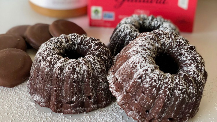 Mini chocolate peanut butter bundt cakes.
