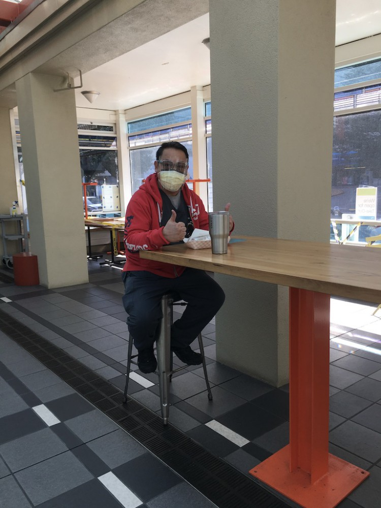 Drinking coffee at the MU Food Court.