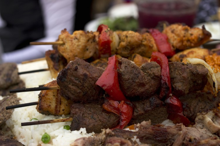 Meat and vegetable kebab