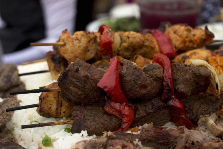 Meat and vegetable kebab