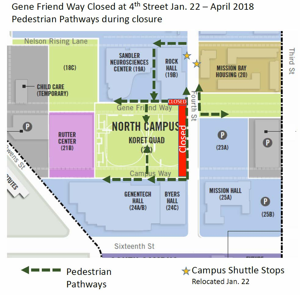 map of koret quad and pedestrian detours