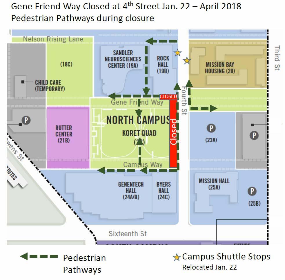 map of koret quad and pedestrian detours