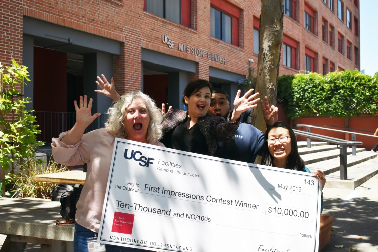 UCSF employees celebrate improvements at the Mission Center Building.