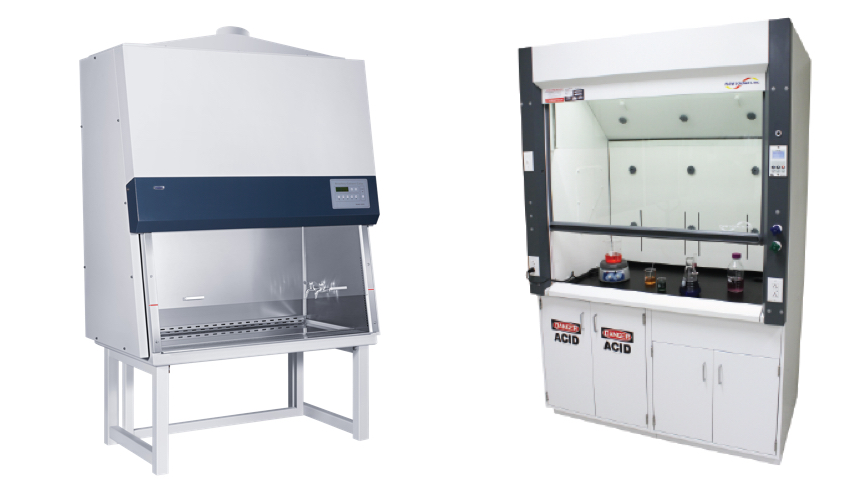 biosafety cabinet and a fume hood