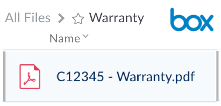 warranty example in box