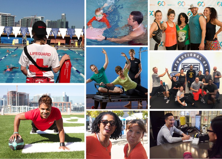 Montage of Fitness & Recreation employees at community events, training members, and working out