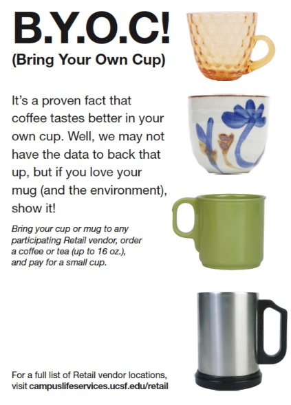 Flyer for Bring Your Own Cup showing 4 different types of coffee mugs and commuter mugs