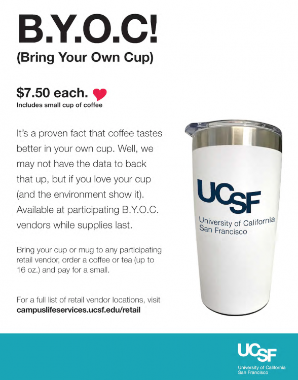 image of a commuter mug available for purchase at $7.50 while supplies last