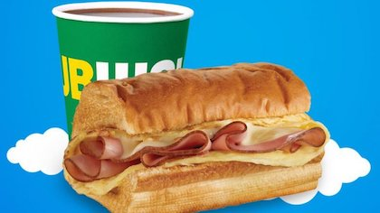 coffee and breakfast sandwich from Subway
