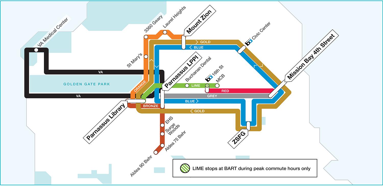 UCSF Shuttle Map