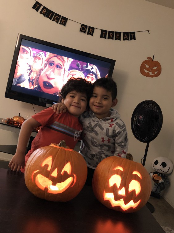 Children with pumpkins