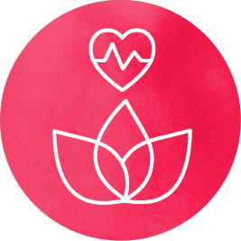 Icon with a lotus flower and a heart.